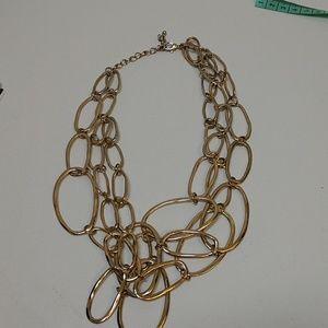 No Brand... Gold-tone 3 strand wavy oval necklace